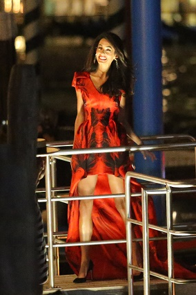 George Clooney's Fiancee Amal Alamuddinn All Smiles As She Arrives in Aman Canal Grande